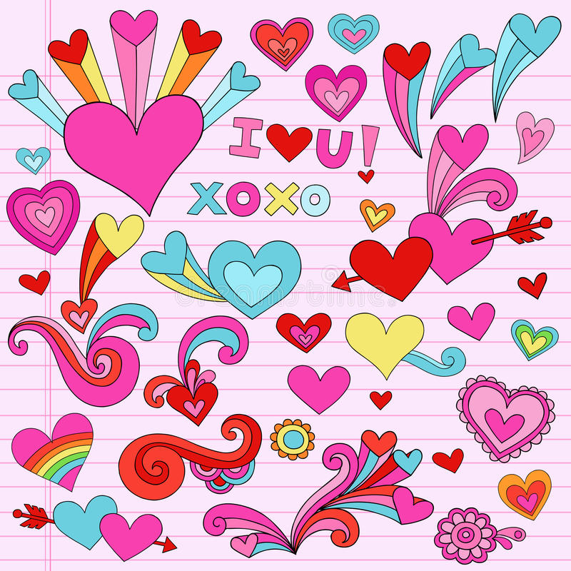 Doodles psicadélicos do coração do amor dos Valentim ilustração stock