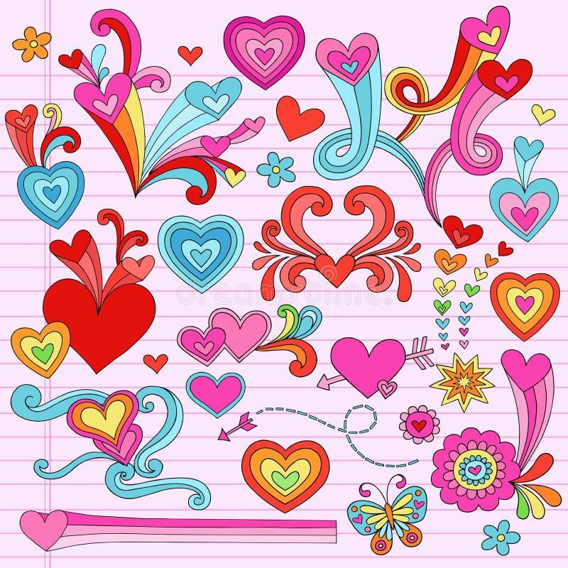 Doodles psicodélicos del corazón del amor de las tarjetas del día de San Valentín stock de ilustración