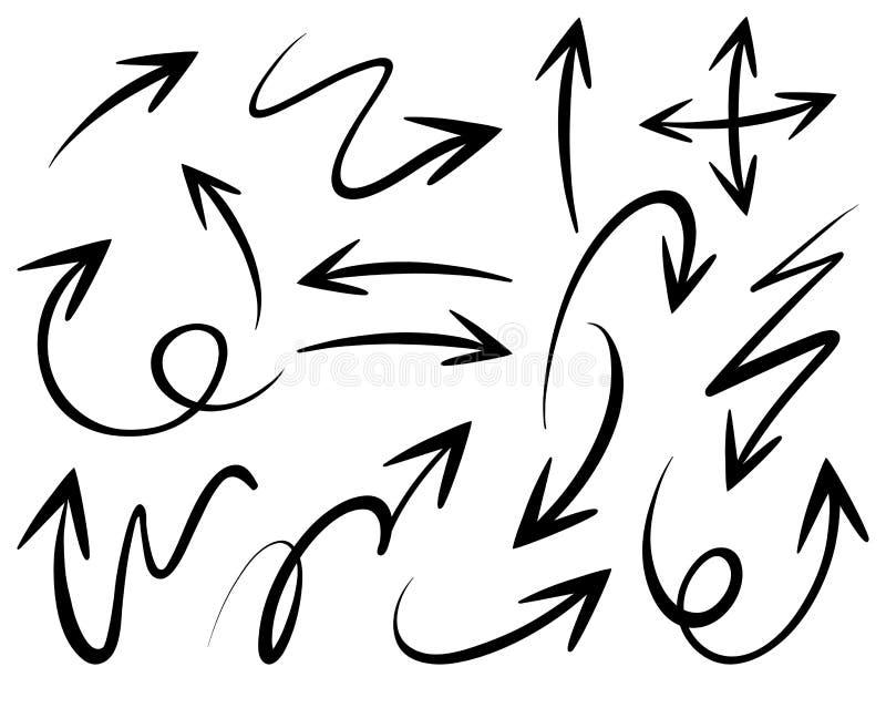 Doodles różne strzałkowate głowy royalty ilustracja