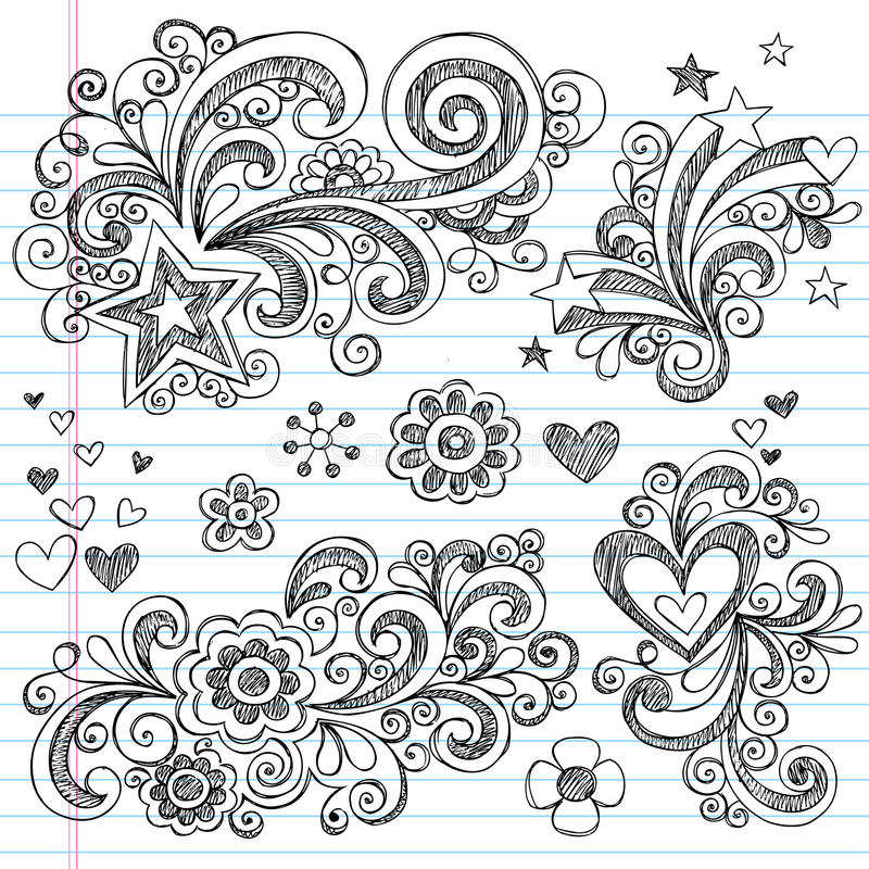 doodles rysować kwiatu ręki szkicowe gwiazdy royalty ilustracja