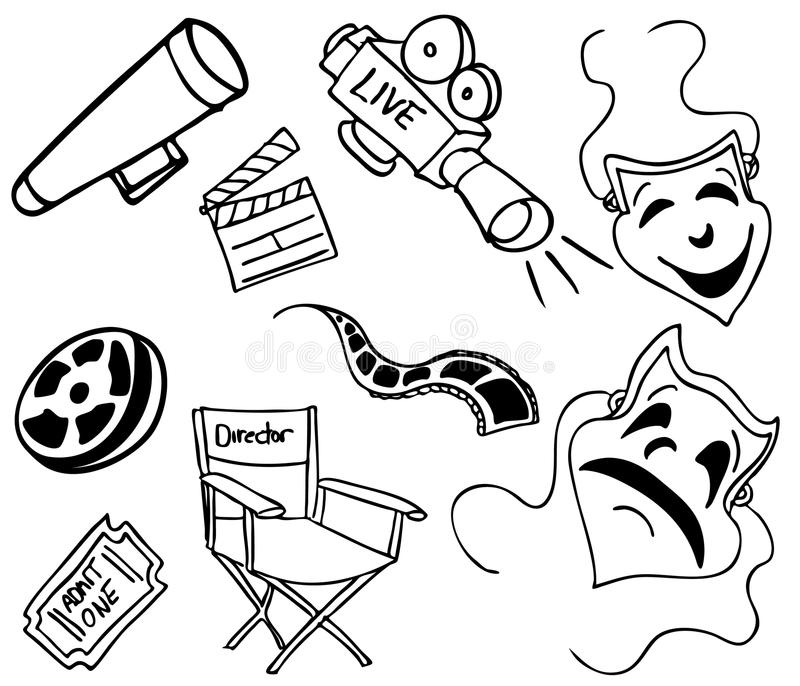 doodles rzecz film royalty ilustracja