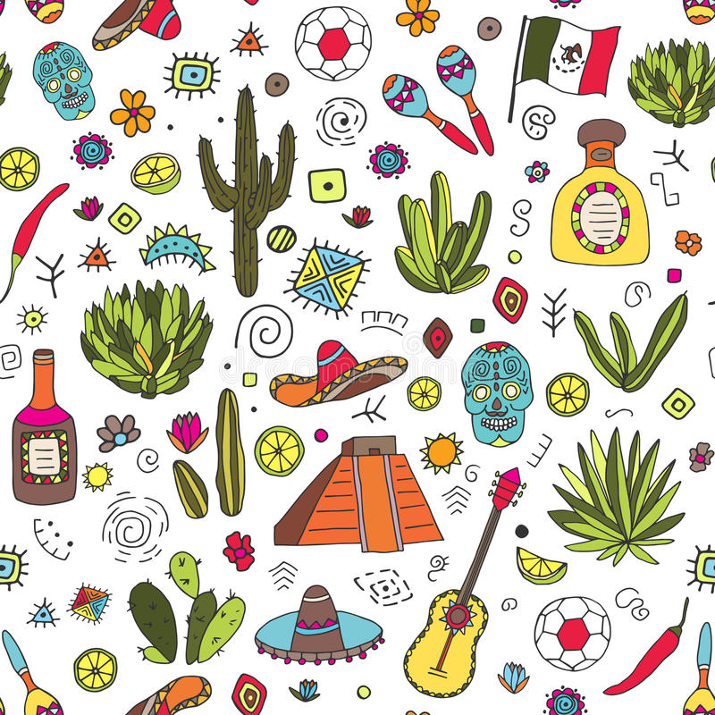 Doodles seamless pattern of Mexico royalty free illustration