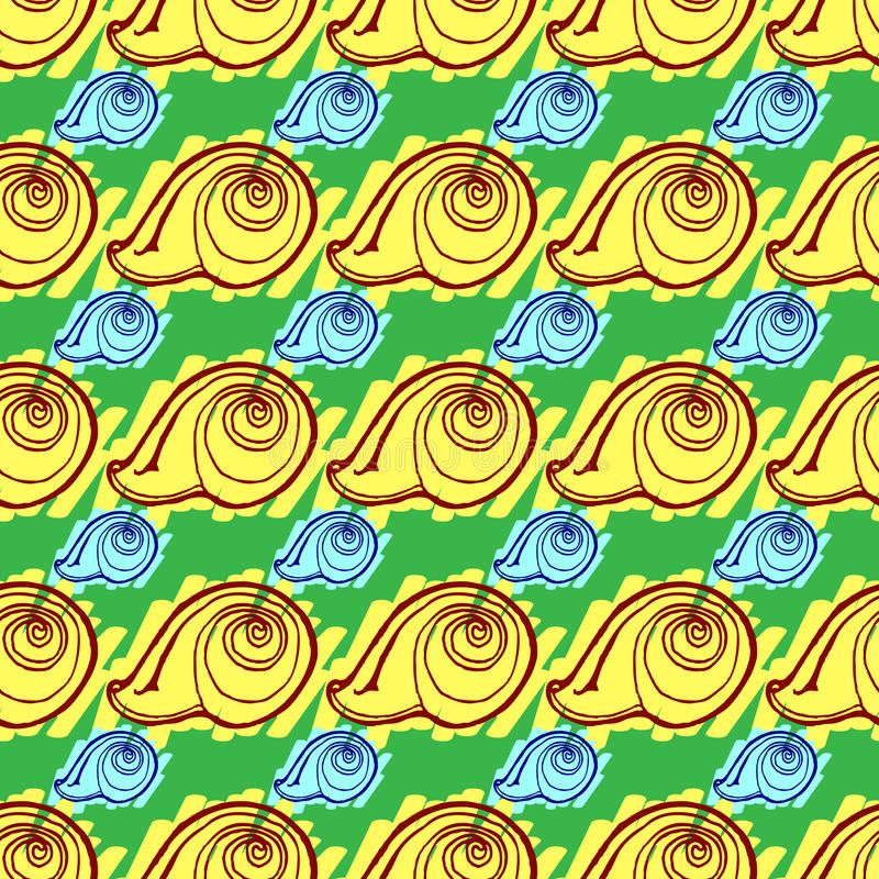 Doodles seashells tła bezszwowego wzór obraz royalty free