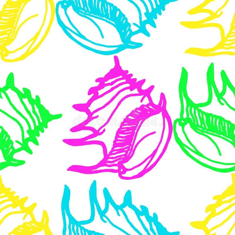 Doodles seashells tła bezszwowego wzór zdjęcia royalty free