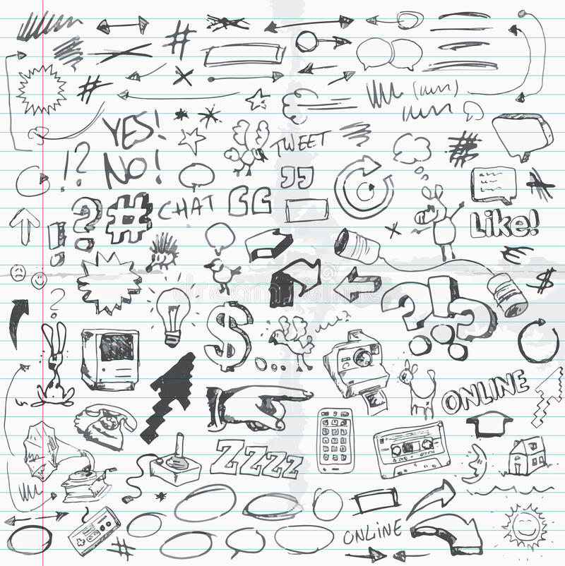 Doodles. Set of doodle drawings. Different items or sketches vector illustration