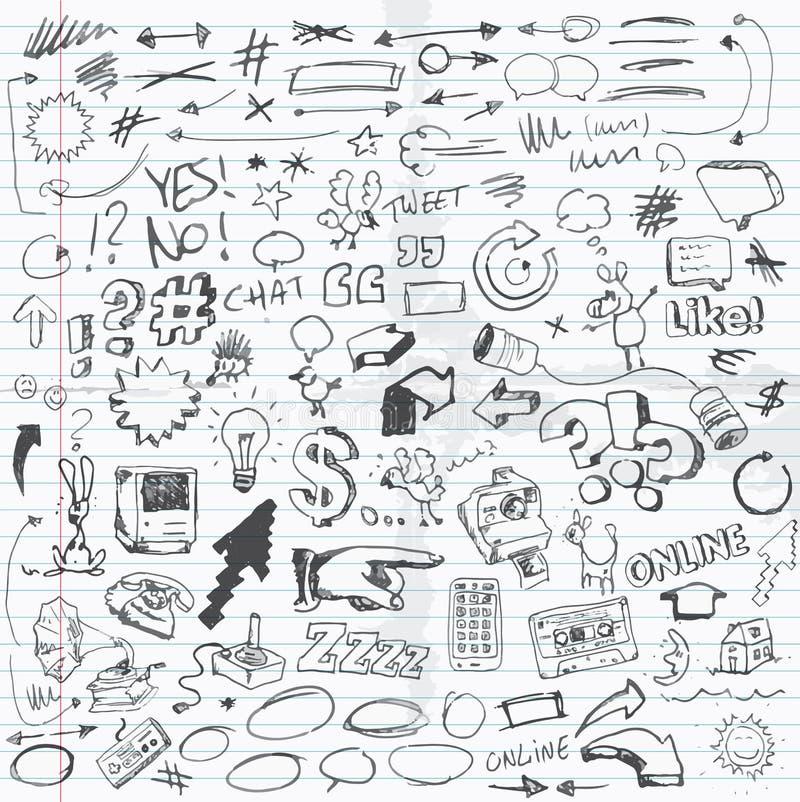 Doodles. Set of illustrated doodles on school paper sheet vector illustration