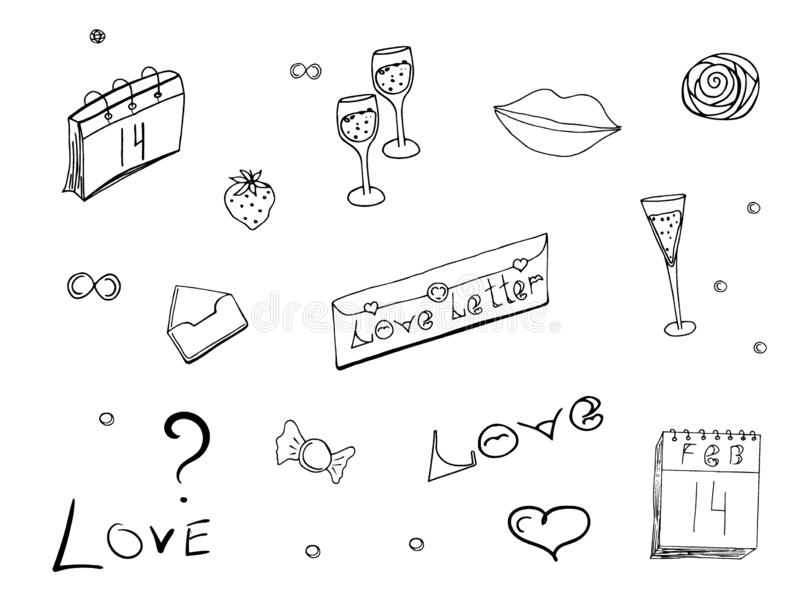 Doodles set on Valentine`s Day. Monochrome love symbols, hearts and lettering isolated on white background. Love vector illustration