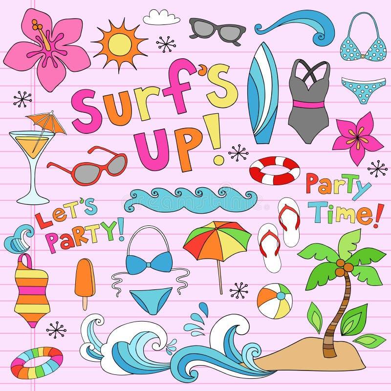 Doodles tropicales de las vacaciones del verano hawaiano libre illustration
