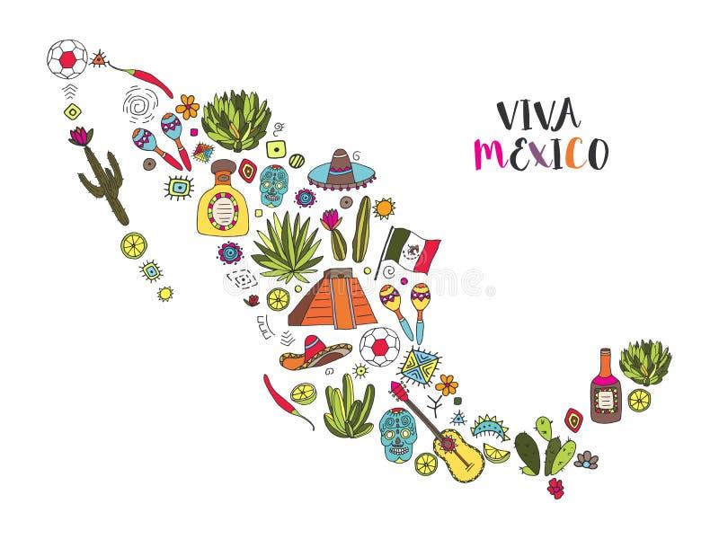 Doodles ustawiający Meksyk w geograficznej mapie royalty ilustracja