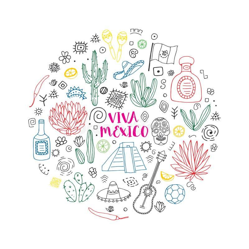 Doodles ustawiający Meksyk wektor ilustracja wektor