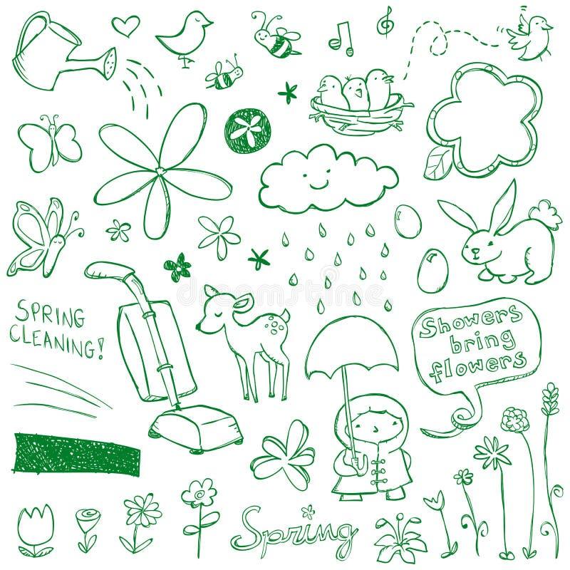 doodles wiosna royalty ilustracja