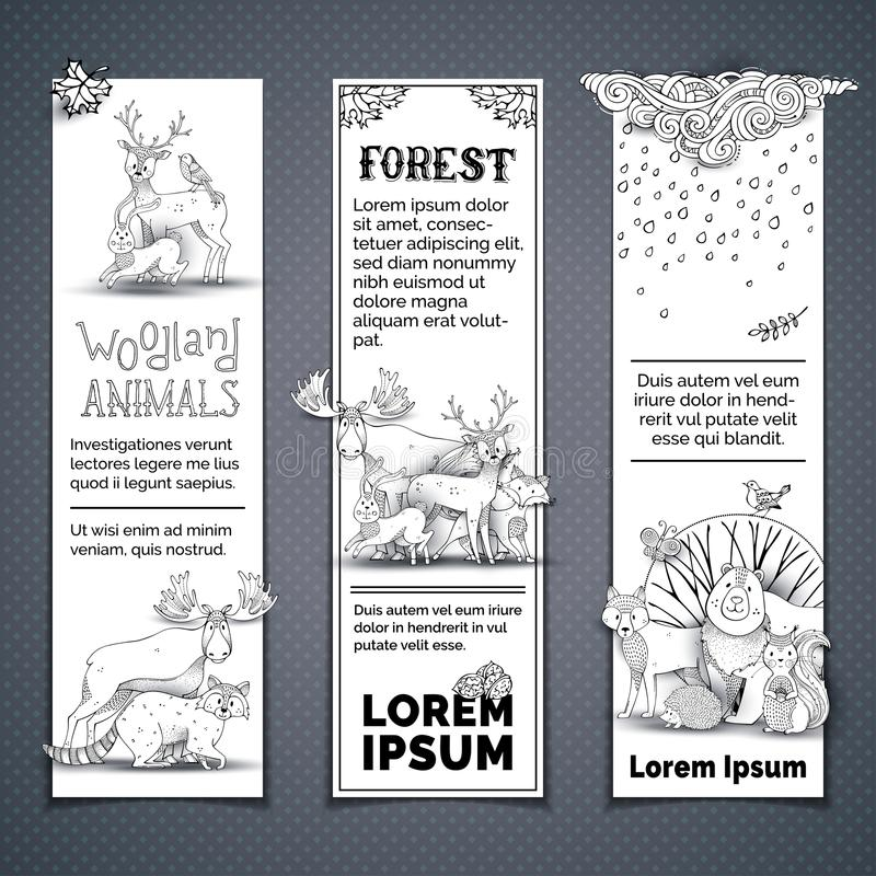 Vector set of vertical animal banners. stock illustration
