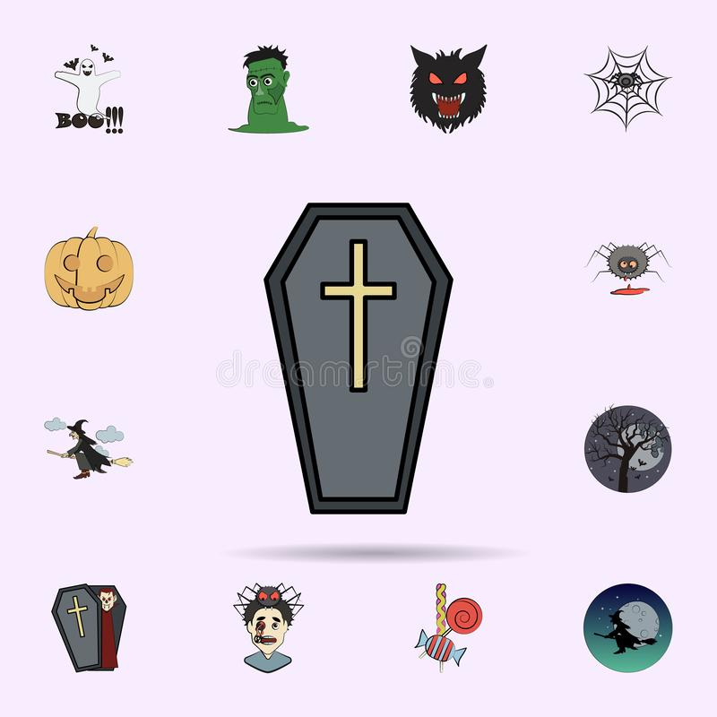 doodskist gekleurd pictogram Halloween-voor Web wordt geplaatst dat en mobiel pictogrammenalgemeen begrip stock illustratie