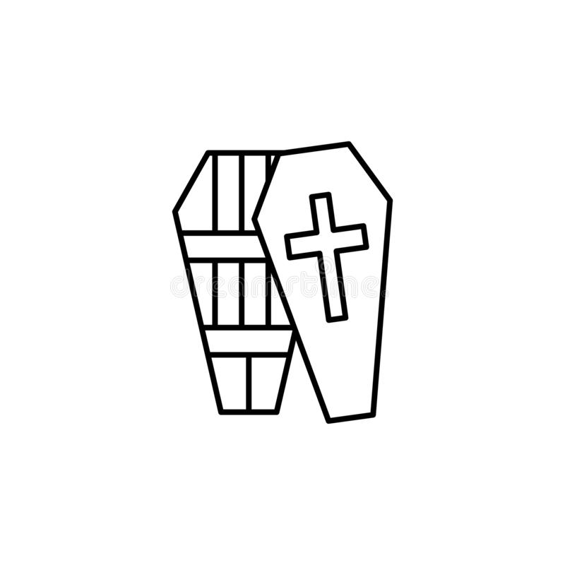 doodskist, kruis, het pictogram van het doodsoverzicht gedetailleerde reeks pictogrammen van doodsillustraties Kan voor Web, embl royalty-vrije illustratie