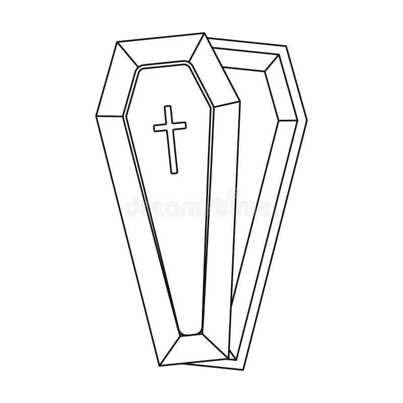 Doodskistpictogram in overzichtsstijl op witte achtergrond wordt geïsoleerd die Begrafenis de voorraad vectorillustratie van het  royalty-vrije illustratie