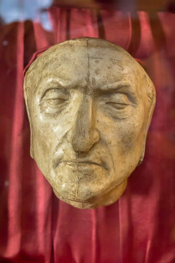 Doodsmasker van Dante Alighieri in Florence, Italië royalty-vrije stock afbeelding