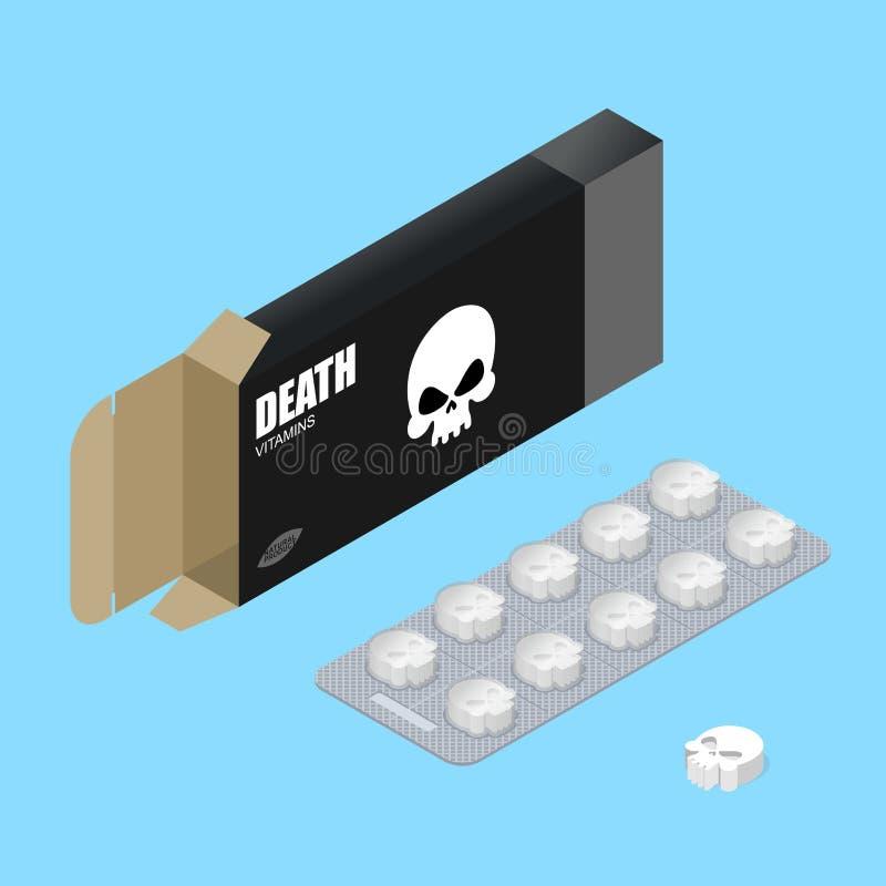 Doodspillen in pak Dodelijke vitaminen in doos het geneesmiddel voor liet vector illustratie