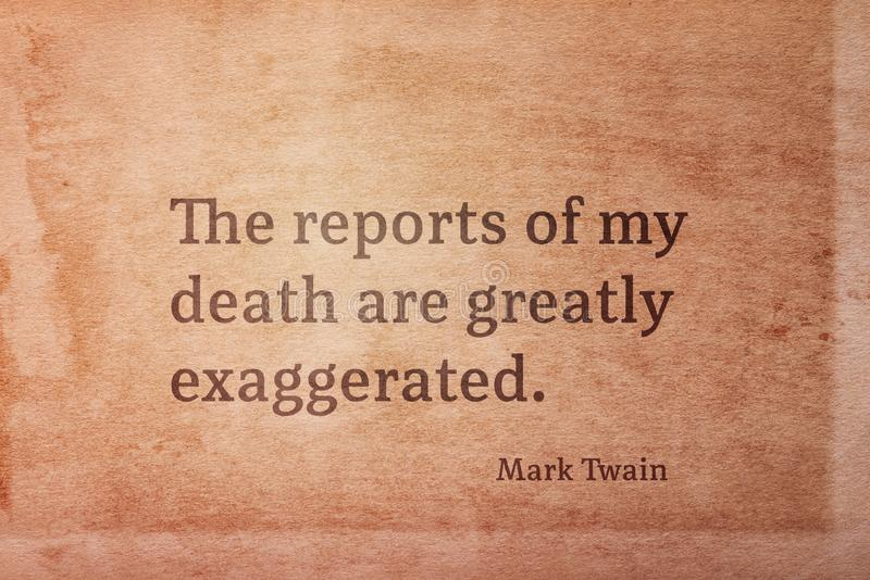 Doodsrapport Twain royalty-vrije stock afbeelding