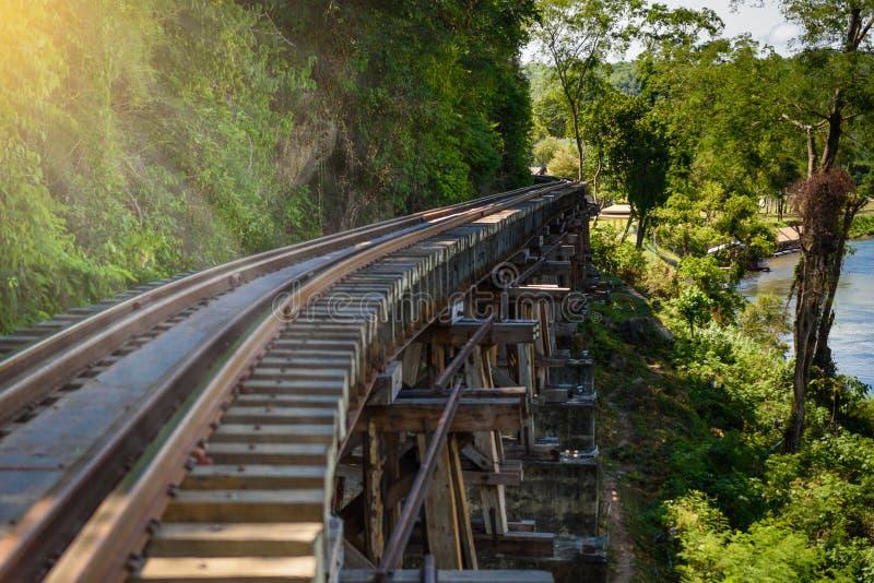 Doodsspoorweg, tijdens Wereldoorlog II, Kanchanaburi Thailand wordt gebouwd dat royalty-vrije stock afbeeldingen
