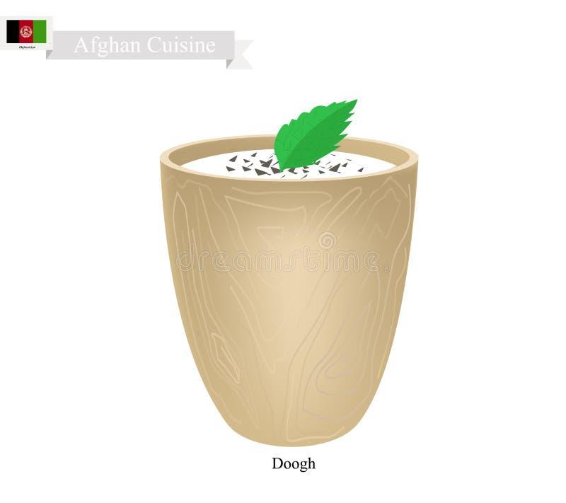 Doogh lub afgańczyk Fermentujący mleko z smakiem podśmietania i pikantności ilustracji