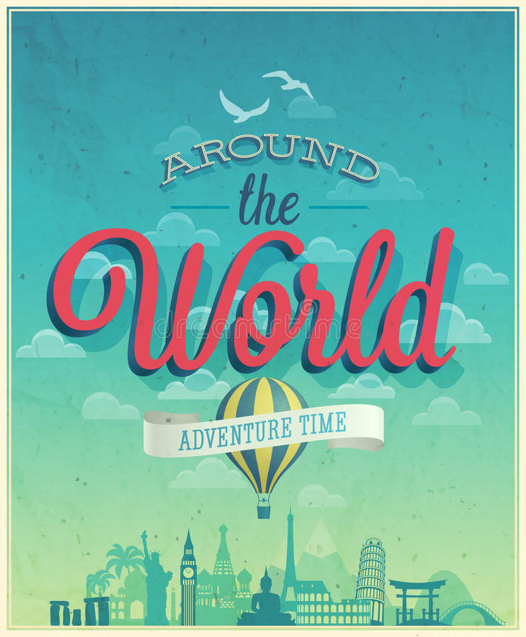 Dookoła świata plakat ilustracji
