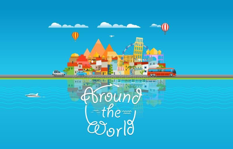Dookoła świata podróżować pojęcie Azja pejzaż miejski royalty ilustracja