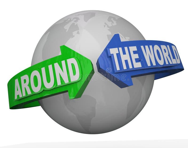 Dookoła Świata zasięg słów strzała obwódki ziemia ilustracji