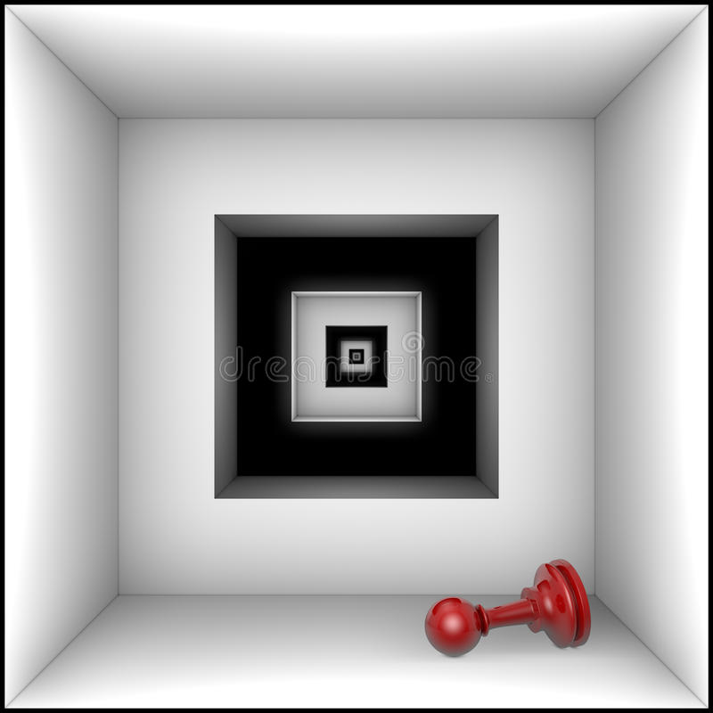 Doom (chess metaphors). Red pawn in black and white tunnel. The space and infinity royalty free illustration