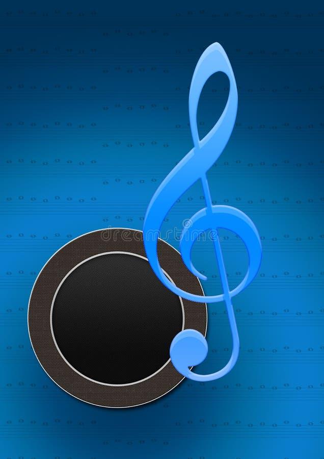 Doom do altofalante com nota da música ilustração do vetor