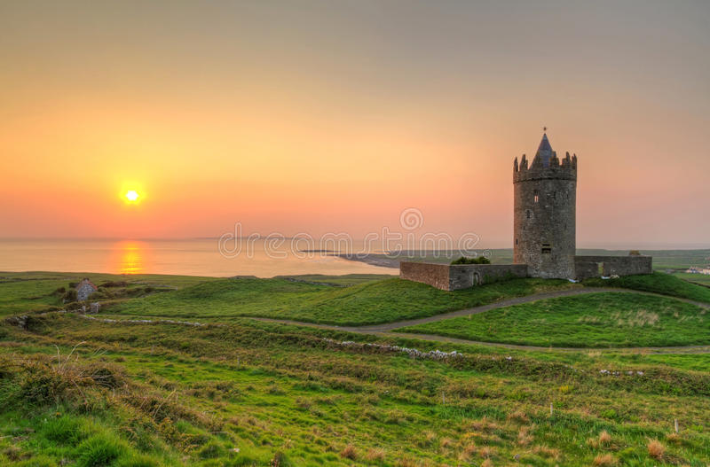 Download Doonagore castle at sunset stock image. Image of doolin - 19391891