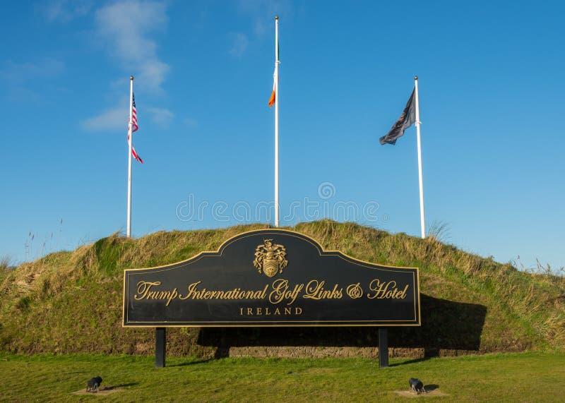 Doonbeg, Ireland - December 28th 2016: Donald Trump International Golf Links & 5 Star Hotel Doonbeg, County Clare, Ireland. Famous gold course royalty free stock image