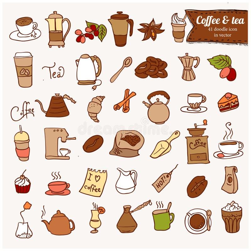 Dooodle咖啡和茶c象集合。 库存例证