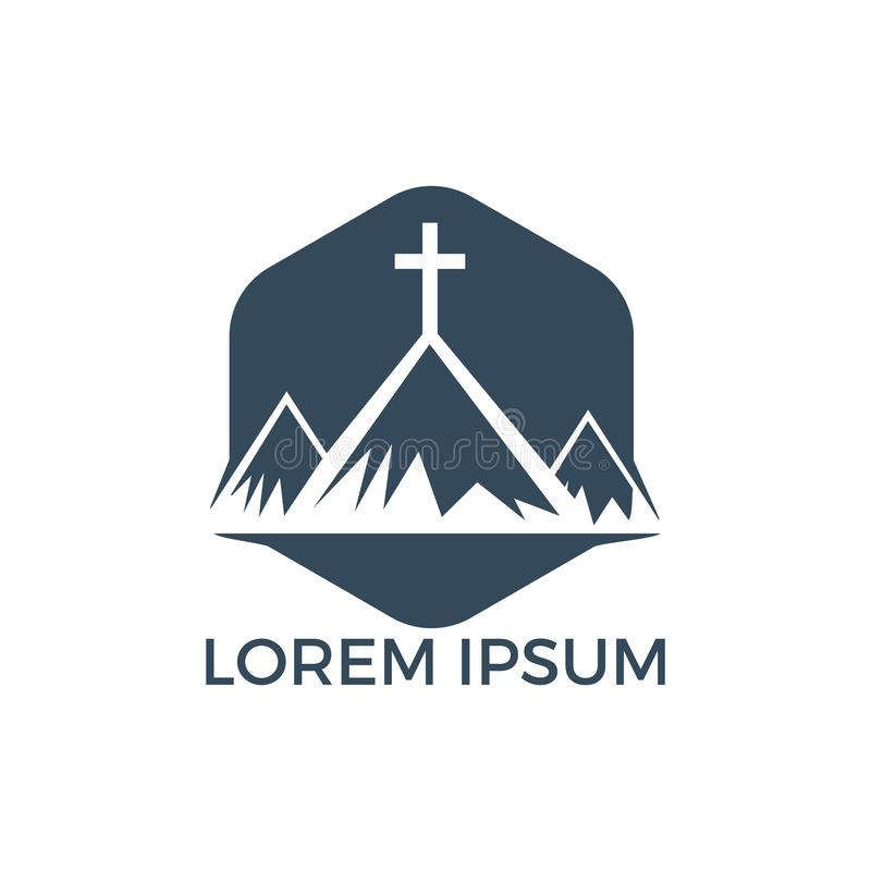 Doopsgezind kruis in het ontwerp van het bergembleem vector illustratie