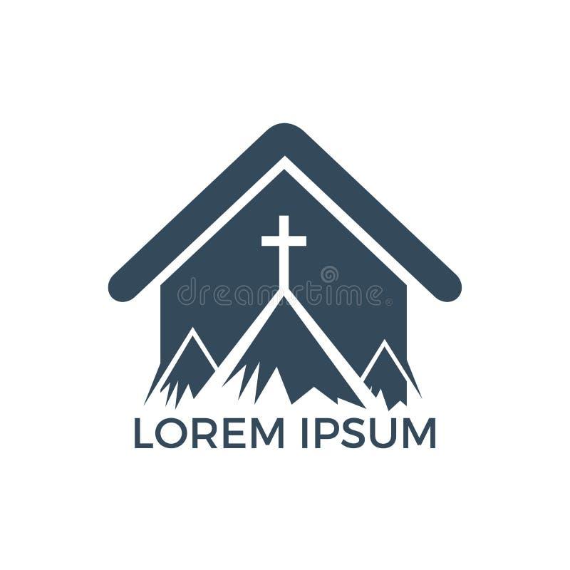 Doopsgezind kruis in het ontwerp van het bergembleem stock illustratie