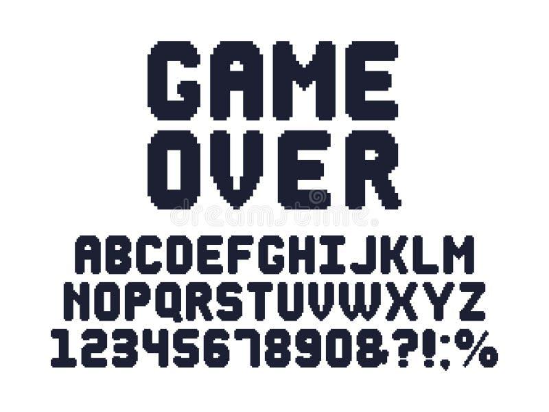 Doopvont de met 8 bits van het computerspel Retro alfabet van het videospelletjespixel, de typografieontwerp van het de jaren '80 vector illustratie