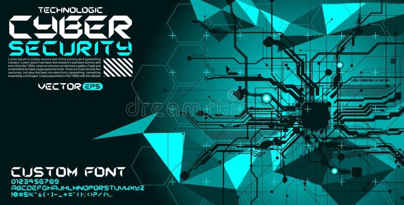 Doopvont het van letters voorzien met kringenhi-tech achtergrondsamenvatting cyberpunk vector illustratie