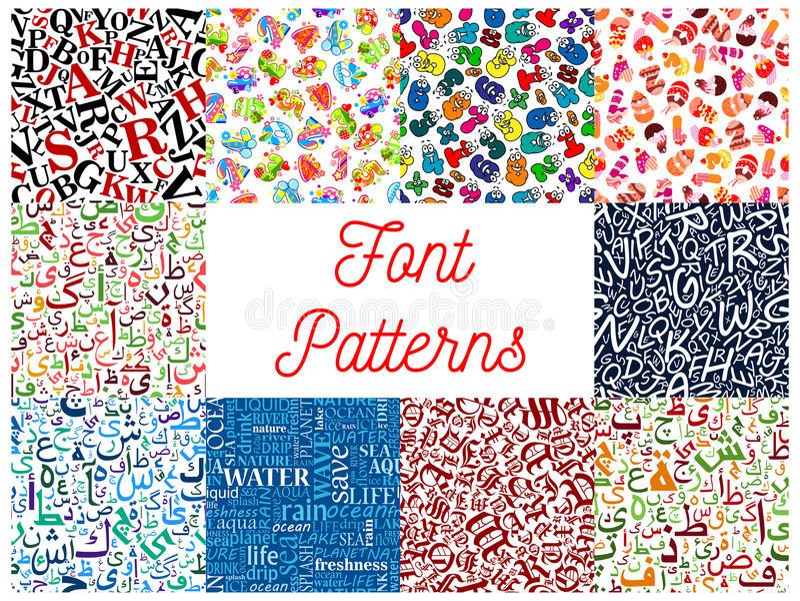 Doopvont naadloze patronen met letter en getal royalty-vrije illustratie