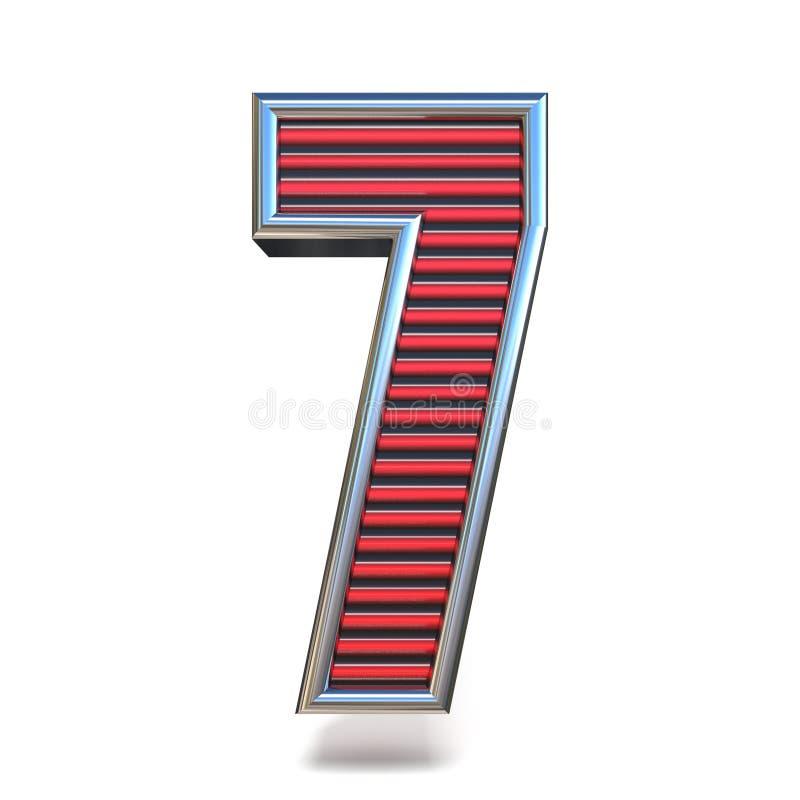 Doopvont Nummer ZEVEN 3D 7 van metaal de rode lijnen vector illustratie