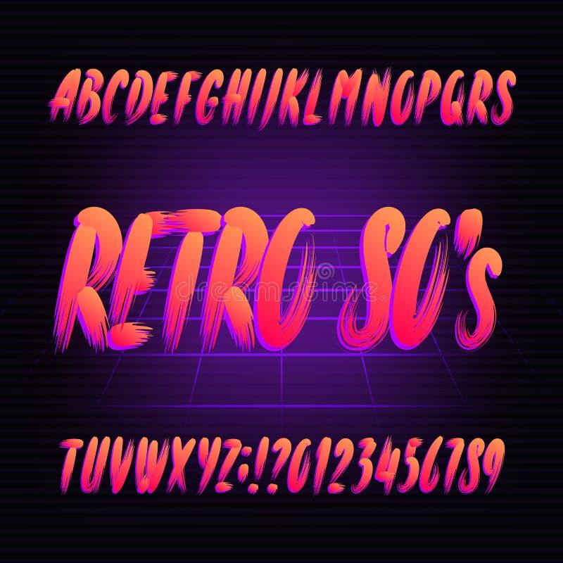 doopvont van het de jaren '80 retro alfabet Hand getrokken penseelstreekletters en getallen in hoofdletters stock illustratie