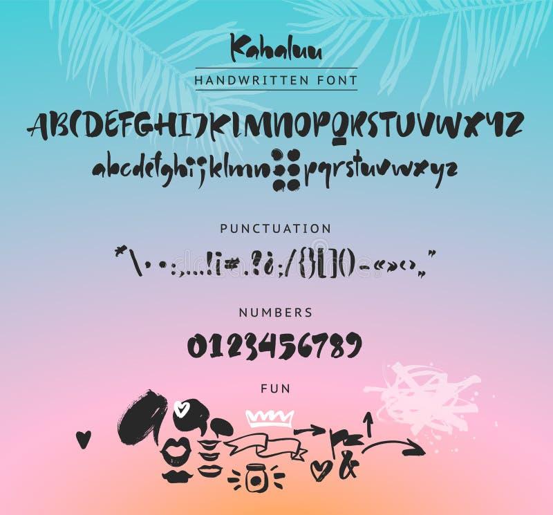 Doopvont van het Kahaluu de Met de hand geschreven manuscript Borsteldoopvont In hoofdletters, in kleine letters, getallen, punct vector illustratie