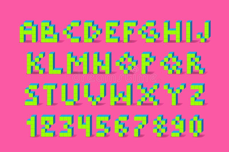 Doopvont van het pixel retro videospelletje doopvont van het de jaren '80 retro alfabet royalty-vrije illustratie