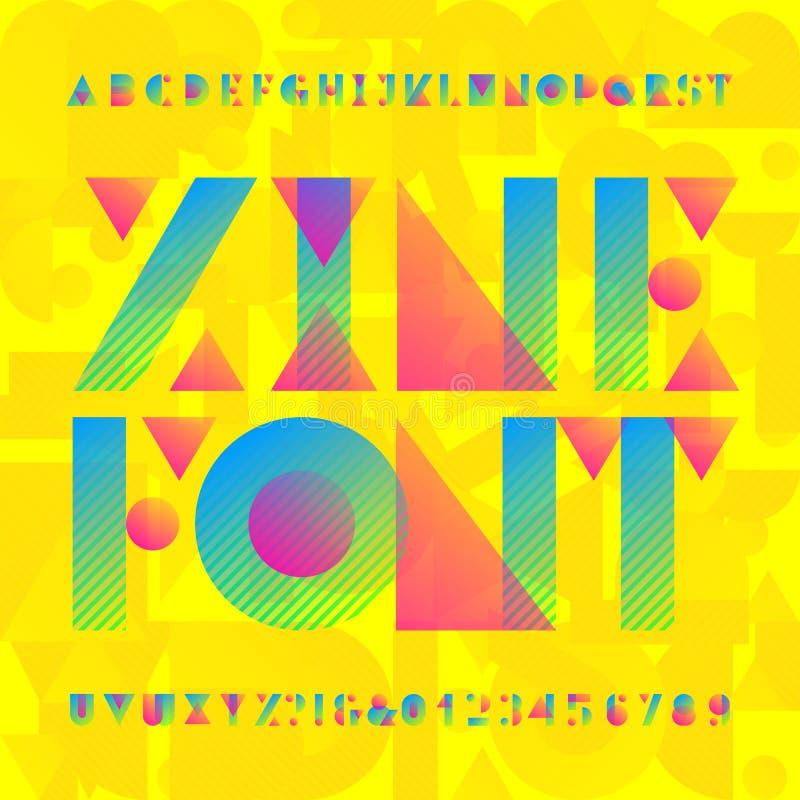 Doopvont van het Zine de geometrische alfabet Heldere colorfulltype letters en getallen royalty-vrije illustratie