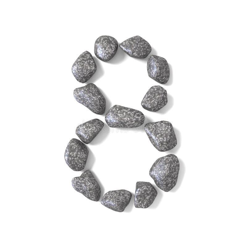 Doopvont van rotsen NUMMER acht 3D die 8 wordt gemaakt vector illustratie