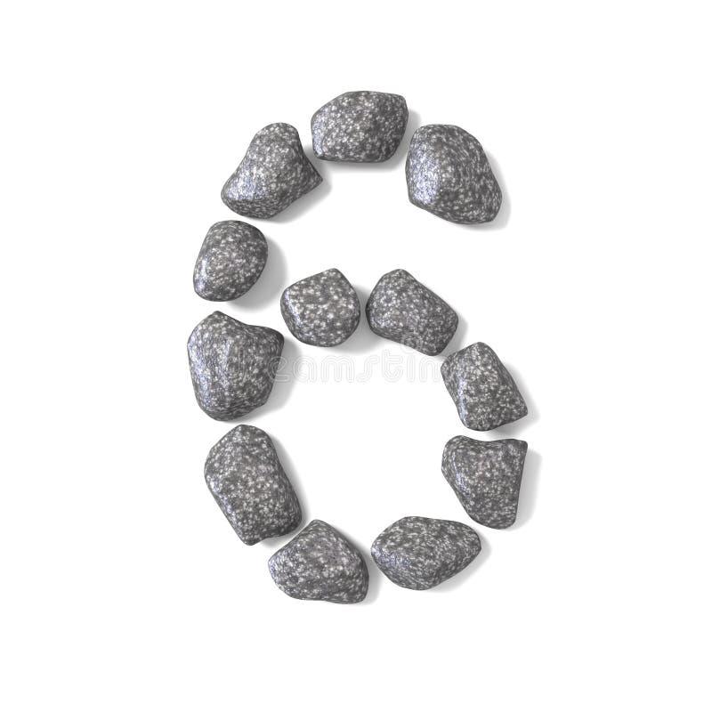 Doopvont van rotsen NUMMER zes 3D die 6 wordt gemaakt vector illustratie