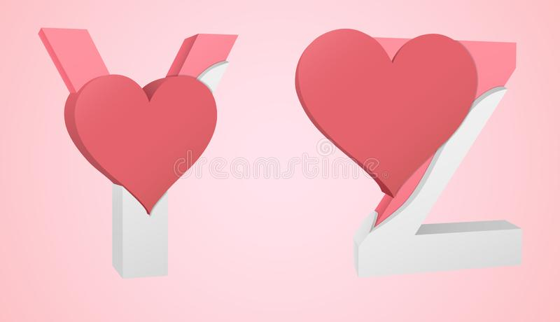 Doopvonthart Y en Z vector illustratie