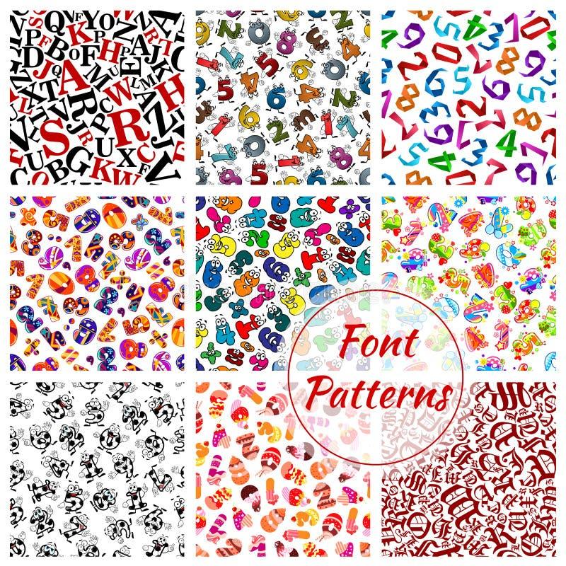 Doopvontpatronen, de brieven van het beeldverhaalalfabet, aantallen vector illustratie