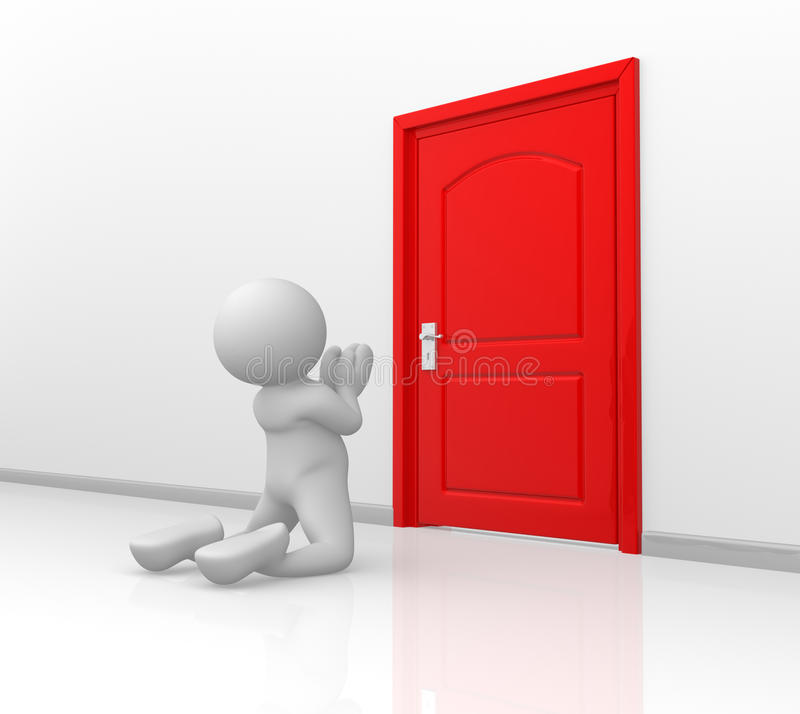 Door. 3d people - human character -in knees begging forgiveness in front door. 3d render vector illustration