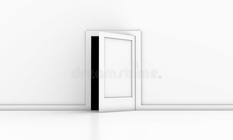 The door. Open door in a white room with dark outside royalty free illustration