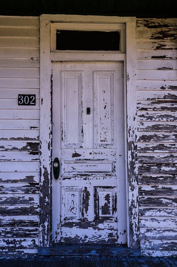 Door at 302 Jericho Road, Windsor Castle Park, Smi. Front door of old house at 302 Jericho Road, Windsor Castle Park, Smithfield, VA, USA royalty free stock image