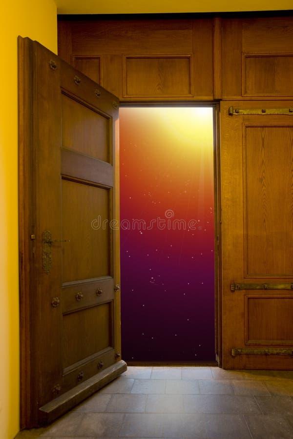 Door. With sunrise symbolic of freedom stock photography